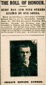 Soldier's Obituary printed in The Bury Times 21st November 1914.