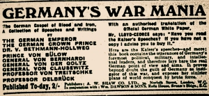 Advertisement for the publication of speeches by Kaiser Wilhelm II. The Bury Times, November 1914.