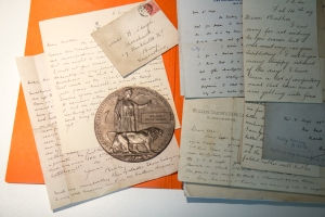 Correspondence between William and his family. Memorial plaque (included is a commemorative note from the King).