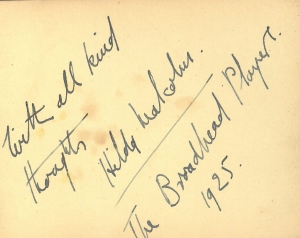 Message from one of the 'Broadhead Players'. 1925.
