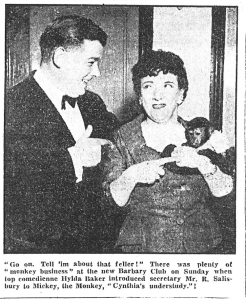 Hylda Baker introducing Mickey the monkey to club secretary, Mr. R Salisbury. Bury Times 21/12/57
