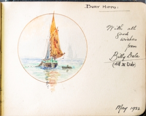 Painting of a boat by performer, Billy Dale, May 1922.