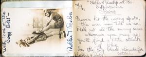 Photograph and message from performers, 'Bobbie & Babs'.