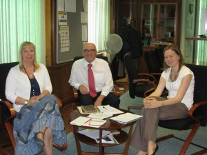 Meeting to discuss plans for the Union Square Dedication Service: L-R Gilli Paxton, Mike Kelly, Ellie Langton (Press Officer)