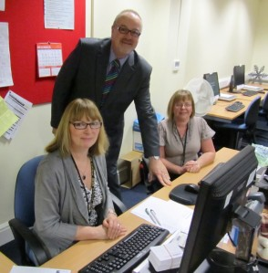 Cllr Mike Connolly, Leader of the Council with Wendy Gradwell and Dawn Chadwick
