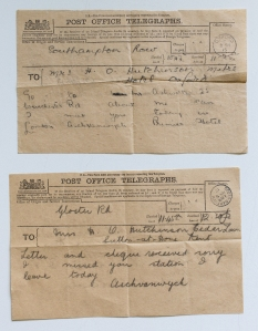 Telegrams from Aschvanwych paid to search for the missing Captain