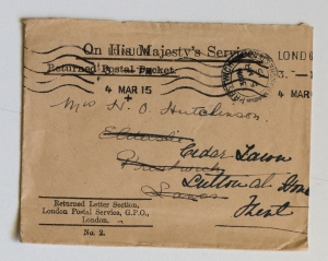 Envelope from the Returned Letter Section, GPO which contained Mrs Hutchinson's letter to her son